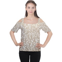Brown Ombre Feather Pattern, White, Women s Cutout Shoulder Tee