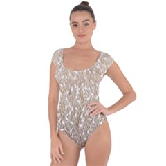 Brown Ombre Feather Pattern, White, Short Sleeve Leotard (ladies)