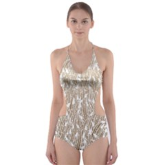 Brown Ombre Feather Pattern, White, Cut-Out One Piece Swimsuit