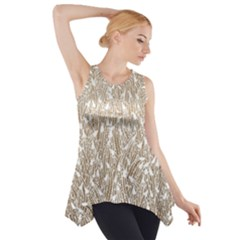 Brown Ombre Feather Pattern, White, Side Drop Tank Tunic