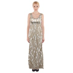 Brown Ombre Feather Pattern, White, Maxi Thigh Split Dress