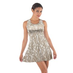 Brown Ombre Feather Pattern, White, Racerback Dresses
