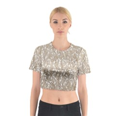 Brown Ombre Feather Pattern, White, Cotton Crop Top
