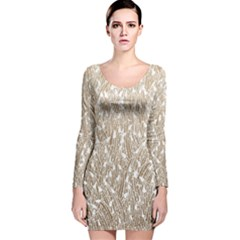 Brown Ombre Feather Pattern, White, Long Sleeve Velvet Bodycon Dress