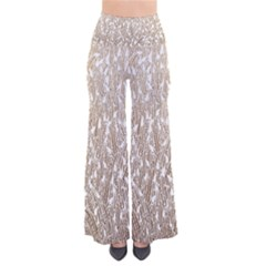 Brown Ombre Feather Pattern, White, Pants