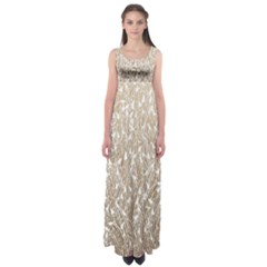 Brown Ombre Feather Pattern, White, Empire Waist Maxi Dress