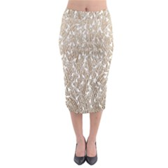 Brown Ombre Feather Pattern, White, Midi Pencil Skirt