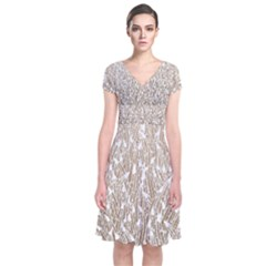 Brown Ombre Feather Pattern, White, Wrap Dress