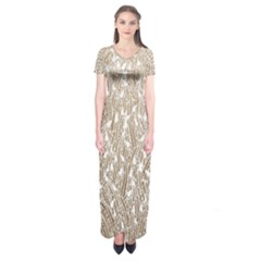 Brown Ombre Feather Pattern, White, Short Sleeve Maxi Dress