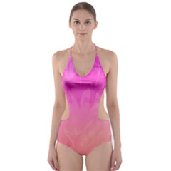 Ombre Pink Orange Cut-Out One Piece Swimsuit
