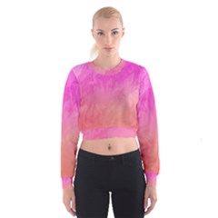 Ombre Pink Orange Women s Cropped Sweatshirt