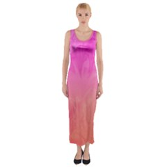 Ombre Pink Orange Fitted Maxi Dress