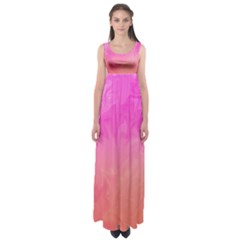 Ombre Pink Orange Empire Waist Maxi Dress