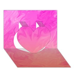 Ombre Pink Orange Heart 3D Greeting Card (7x5)