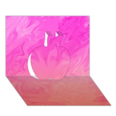 Ombre Pink Orange Apple 3d Greeting Card (7x5)