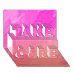 Ombre Pink Orange Take Care 3d Greeting Card (7x5)