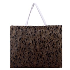 Brown Ombre feather pattern, black, Zipper Large Tote Bag