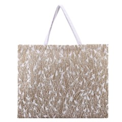 Brown Ombre feather pattern, white, Zipper Large Tote Bag