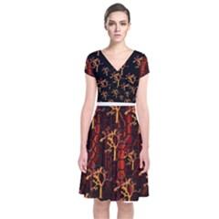 Fire3 Short Sleeve Front Wrap Dress