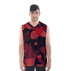 Red Hearts Men s Basketball Tank Top