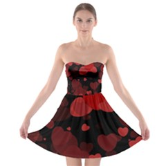 Red Hearts Strapless Dresses