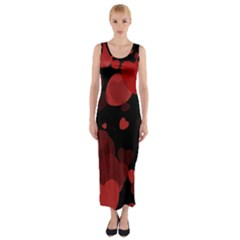 Red Hearts Fitted Maxi Dress