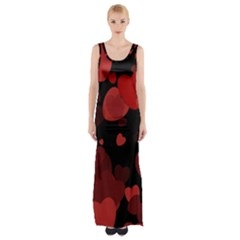 Red Hearts Maxi Thigh Split Dress