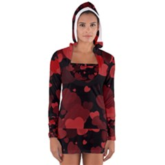 Red Hearts Women s Long Sleeve Hooded T Shirt