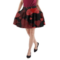 Red Hearts A-Line Pocket Skirt
