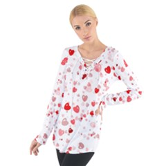 Bubble Hearts Women s Tie Up Tee