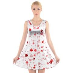 Bubble Hearts V Neck Sleeveless Skater Dress