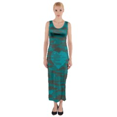 Camo Hearts Fitted Maxi Dress