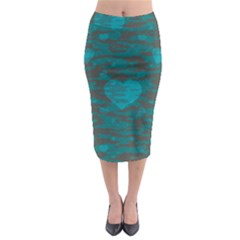 Camo Hearts Midi Pencil Skirt