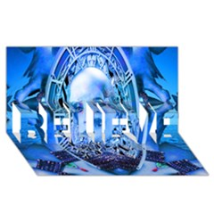Clockwork Blue Believe 3d Greeting Card (8x4)