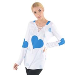 Blue Hearts Women s Tie Up Tee