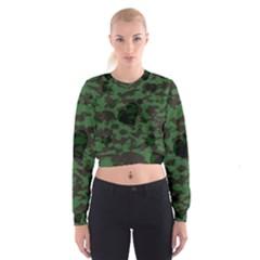 Green Camo Hearts Women s Cropped Sweatshirt