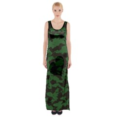 Green Camo Hearts Maxi Thigh Split Dress