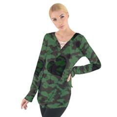 Green Camo Hearts Women s Tie Up Tee