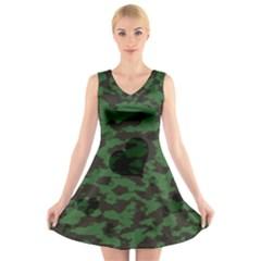 Green Camo Hearts V-Neck Sleeveless Skater Dress
