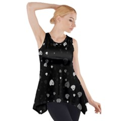 Black and White Hearts Side Drop Tank Tunic