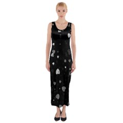 Black And White Hearts Fitted Maxi Dress
