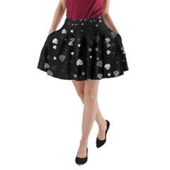 Black and White Hearts A-Line Pocket Skirt