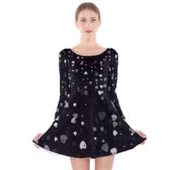 Black And White Hearts Long Sleeve Velvet Skater Dress