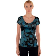 Turquoise Hearts Women s V-Neck Cap Sleeve Top