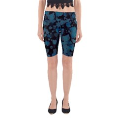 Turquoise Hearts Yoga Cropped Leggings