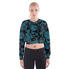 Turquoise Hearts Women s Cropped Sweatshirt