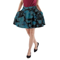 Turquoise Hearts A Line Pocket Skirt