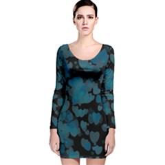 Turquoise Hearts Long Sleeve Velvet Bodycon Dress