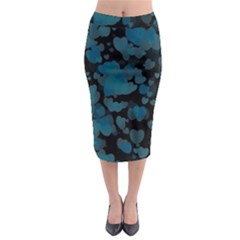 Turquoise Hearts Midi Pencil Skirt