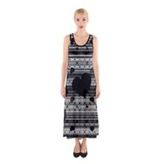 Black And Gray Abstract Hearts Sleeveless Maxi Dress